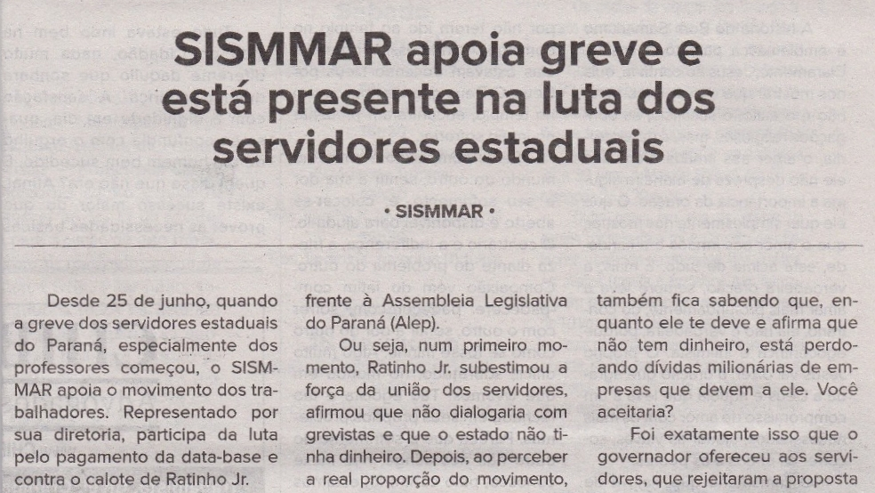 SISMMAR apoia greve